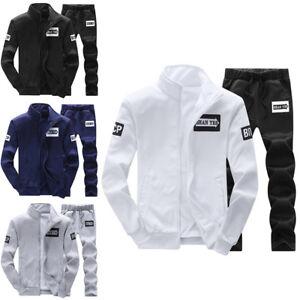 Mens Tracksuit Sweatshirt Sports Suit Casual Sportswear Basic Jacket+Pants Set