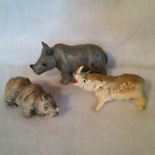3 Small Rhino Figurines Clay, Bisque, China Excellent Condition