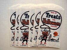 Set of 6 Vintage Halloween Bag of Treats with Jack-O-Lantern Cowboy