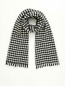 Large Soft Dogtooth Check Scarf Black White by Very