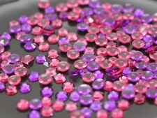 2000 Transparent Hot Pink Purple Acrylic Round Flatbacks Rhinestone Gem 3mm SS12