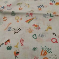 lightweight baby nurery fabric Alphabet Vtg 60s 70s light blue ABC's BTHY
