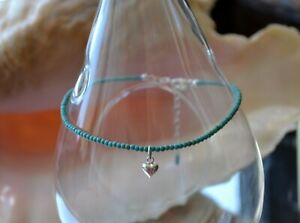 2 mm Turquoise Bead & .925 Sterling Silver Heart Ankle Bracelet 9 to 11 Inches