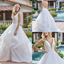 Beach Ruffles Wedding Dresses Bridal Ball Gowns 4 6 8 10 12 14 16 18 20 22 24 26