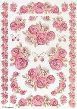 Carta di riso-SHABBY ROSE bordi-per decoupage, Album Fogli Craft