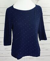 A New Day Top Womens Medium M Blue Polka Dot Boat Neck 3/4 Sleeve Blouse Cotton