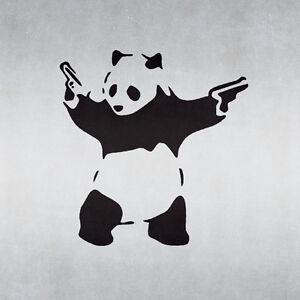 Banksy Panda With Guns Stencil - Urban Graffiti Art Template - A4 Size