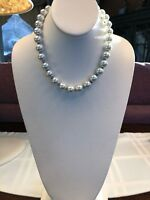 Vintage 16 Inch 12mm Large Hand Knotted White Colored Glass Pearl Necklace
