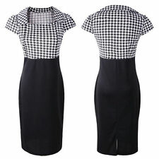 AU VINTAGE 50S ROCKABILLY RETRO HOUNDSTOOTH PENCIL WIGGLE PINUP PARTY DRESS