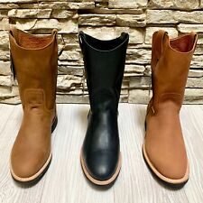 MENS WORK BOOTS GENUINE LEATHER ROUND TOE WESTERN BOTAS GOOD YEAR WELT