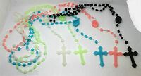 5X Prison Issue Rosary Beads Black Blue White Green Pink Some Glow in the Dark
