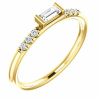 Genuine 1/5 ctw Diamond Stackable Baguette Ring 14K Yellow or White or Rose Gold