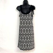 0684e2e378 Ann Taylor Loft Womens Knit Dress M P Black Geometric Print Stretch Shift  Rayon