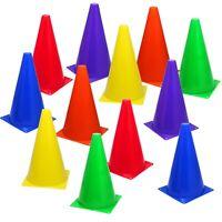 12 MultiColor 9 inch Cones Train Training Soccer Football Agility Traffic Bright