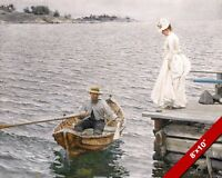 Woman in white dress man in row boat fine art PAINTING 8X10 REAL CANVAS PRINT