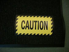 Signage Safety Mat, Black with Yellow Caution Sign, 3 ft x 5 ft Horizontal