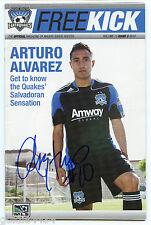 ARTURO ALVAREZ #10 San Jose EARTHQUAKES Autographed Signed FREEKICK MLS Magazine