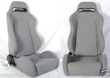 NEW 2 GRAY CLOTH RACING SEATS RECLINABLE + SLIDERS FIT FOR SUBARU