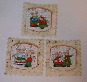 PACK 3 CHRISTMAS MUSIC MICE SET 2 TOPPER EMBELLISHMENTS  FOR CARDS AND CRAFTS