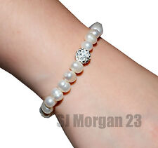 Shamballa Style Faux Pearl Bracelet With Rhinestone ball. Stretch Wrist Bangle