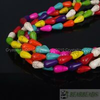 """Mixed Colors Howlite Turquoise 8mm x 14mm Drop Spacer Crafts Loose Beads 16"""""""
