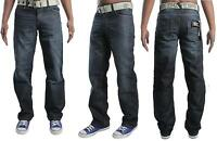 New Mens Enzo Branded Jeans Classic Fit Straight Leg Free Belted Pants 28 to 48