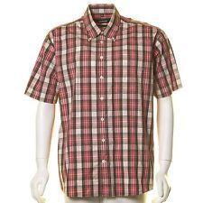 Karierte klassische Seidensticker Kurzarm Herrenhemden mit Button-Down-Kragen