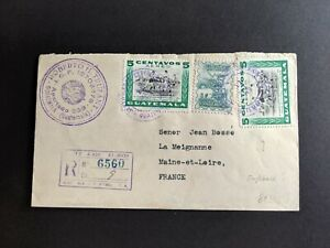 1948 Guatemala SC C159 5c (2) soccer football on envelope registered to France