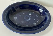 Vintage Fiesta HLC Snowflake Oval Platter Bowl~ Betty Crocker Retired Cobalt~USA