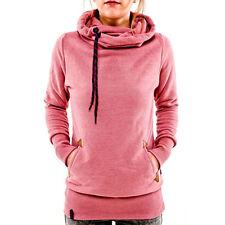 Damen langärmlig Kapuzenpullis Sweat Mantel Pullover Top Freizeit mit Kapuze