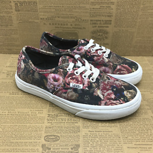 Vans Mens 721500 Black Pink Flowers Sneakers Shoes Lace Up Size M 5.5 W 7.0