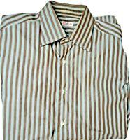 Isaia Brown/Blue Stripe Mens L Long Sleeve Sport Dress Made Italy Shirt 16.5/42