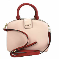 DKNY Women's Leather Satchel Handbags Clara Medium Bag Pink White