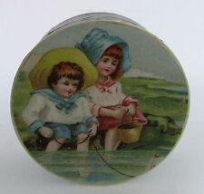 Antique German Round Paper Candy Container Box Boy & Girl Playing Sailboat Water