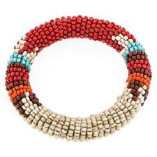 ETHNIC STYLE BEIGE RED BROWN HANDMADE SEED BEADS BANGLE bracelet