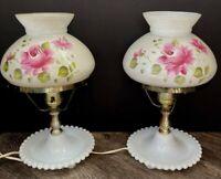"Vtg Pair Hobnail Hand Painted Roses GWTW Boudoir Night light Table Lamps 11 3/4"""