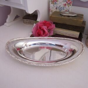 Silver plated large oval dish floral border Hecworth Sheffield