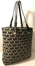 Michael Kors MK Print Black Leather Trim Tote Shopper Office Shoulder Bag Purse
