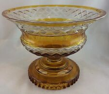 Fußschale Kristallglas Böhmen 20er-Jahre Aufsatzschale gelber Lüster Kerbschliff