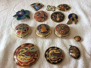 Vtg Job Lot  Cloisonné Enamel Floral Jewellery Brooches &  Pots & Others