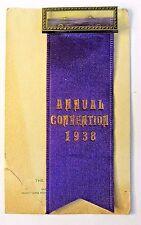 1938 ANNUAL CONVENTION Whitehead & Hoag SAMPLE ribbon badge pinback ON CARD +