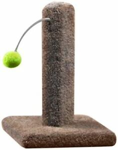 Kitty Cactus Carpeted scratch post with pom pom cat toy 16""