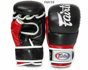 Fairtex Supper Sparring Grappling Gloves FGV18 Black-Red  Open Thumb MMA K1