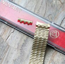 Vintage watch band NSA gold-tone 7-row link straight & curved ends NOS 1960s/70s