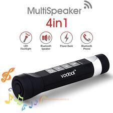 VODOOL 2200mAh Mini USB Power Bank Bluetooth Speaker&Bright LED Flashlight+Clip