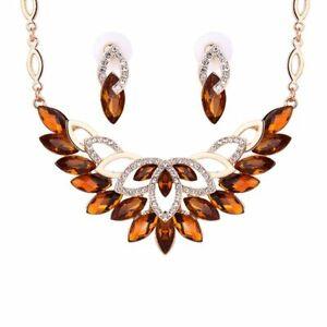 Alluring Necklace & Earrings Brown Rhinestone Sets