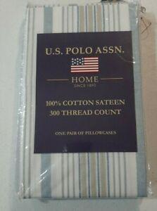 U.S. POLO ASSN. 300 Thread Count King Pillowcases 100% Cotton Sateen