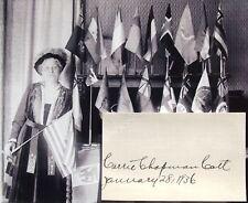 Carrie Chapman Catt Women's Suffrage 19th Amendment Activist Autograph ''Rare''