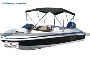 """Summerset Premium 3 Bow Boat Bimini Top Cover, 1"""" Frame and Hardware"""
