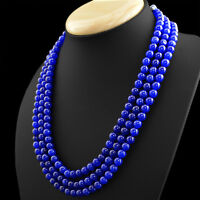 474.50 CTS EARTH MINED 3 LINE ROUND SHAPE RICH BLUE SAPPHIRE BEADS NECKLACE